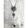 Kép 2/3 - Acélszürke háromlyukú medálos nyaklánc