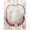 Kép 2/2 - Rózsapiros gyöngysor bőrszálon