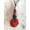 Kép 1/2 - Piros fémrudas hosszú nyaklánc
