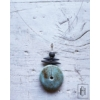 Kép 2/2 - Kék, barna pöttyel szórt sodronyos hosszú nyaklánc