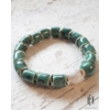 Kép 1/2 - Smaragdzöld ezüst-foltos teli gyöngyös karkötő