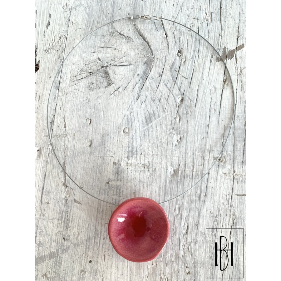Rózsapiros tányéros egymedálos nyaklánc