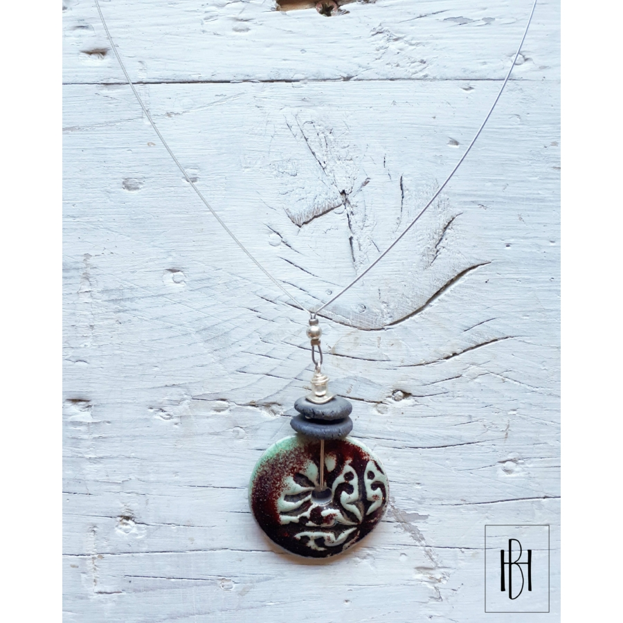 Türkizzöld-barna sodronyos hosszú nyaklánc